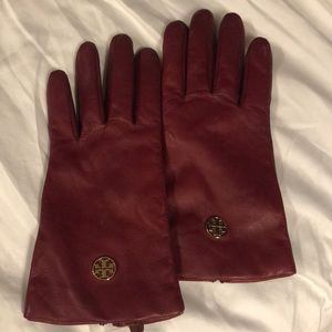 Tory Burch red leather gloves
